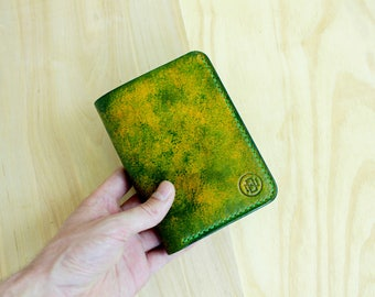 Men's Leather Wallet BIFOLD, Spotty Green Leather Wallet, Handstithed, Handpainted, Handcrafted, Men wallet, Women wallet, Leather Clutch