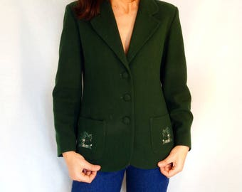 Army green jacket women size Small tailored blazer for women 90s fitted wool jacket spring vintage 90s