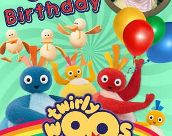 Twirlywoos CBEEBIES photo personalised Birthday Greetings card with free envelope and postage!