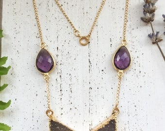 Gold agate druzy chevron and amethyst necklace with elegant gold-filled curb chain, natural purple agate - bohemian boho gifts for her