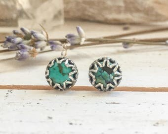 Silver turquoise stud earrings - unique sterling silver bezel, fine silver ear post, blue turquoise with matrix, bohemian boho gifts for her
