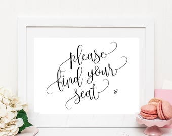 Find your seat sign, wedding reception sign, instant download, heart, wedding seating sign, wedding printable sign PPCB8