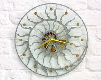 Modern stain glass clock - Skeleton wall clock - Hand paint glass clock - Fossil Ammonite decor - Designer loft clock - Kitchen glass clock