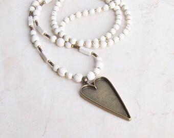 White howlite necklace, heart necklace pendant, boho summer long necklace