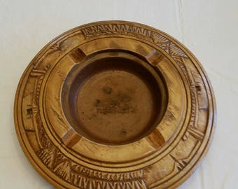 "vintage 1960 's hand carved & etched wooden ashtray w/ clay pottery center 7.75"" - made in philippines - cigar tobacco trinket dish wood art"