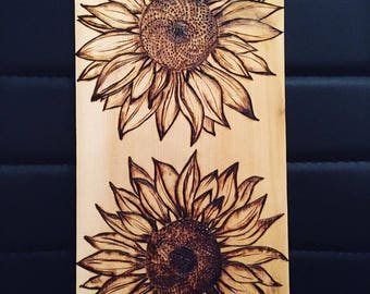 Sunflower pyrography art