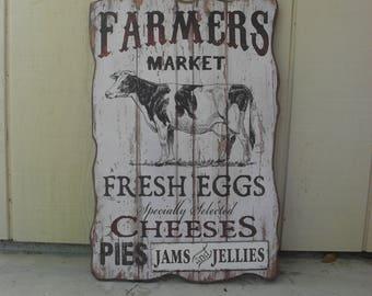 Country Primitive Farmhouse Rustic Farmer's Market Wall Sign Kitchen Decor