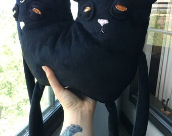 Black Cat Plush, Cat Plush, Stuffed Cat Plush, Stuffed Animal Cat, Two Headed Cat, Siamese Cat, Siamese Cat Plush