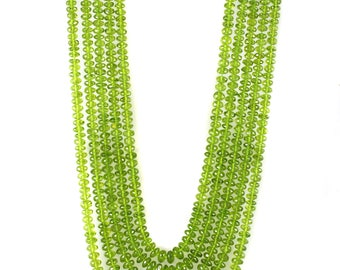 AAA Quality Natural Peridot 5 String Roundel Faceted Beads Necklaces,Peridot Facted Beads,15 to 19 Inch Long String,6.0 to 8.0 MM Approx