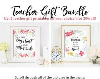 Teacher Gift Printable Bundle Set Teacher Gift Printables Floral Teacher Gift Print Set Teacher Appreciation Gift Printable Teacher Gift Set