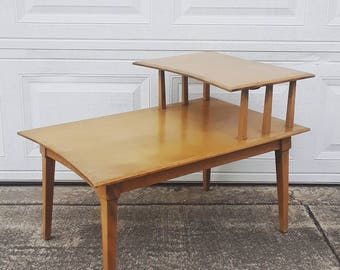 FREE SHIPPING - Vintage MCM Mid Century Modern Heywood Wakefield two-tier end table retro midcentury wooden furniture 30s 40s 50s 60s 70s