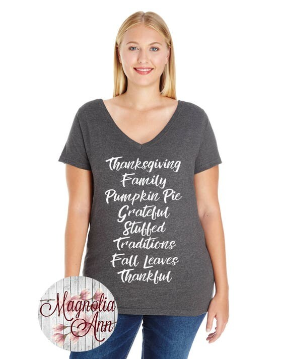 Thanksgiving Family Pumpkin Pie Grateful Stuffed Traditions Fall Leaves Thankful, Thanksgiving V Neck T-shirt, Small-4X, Plus Size Clothing