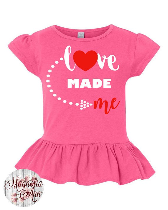 Love Made Me Toddler Valentines Day Shirt, Girl Valentines Shirt, Little Girls Ruffle Tee, Ruffled Shirt for Girls, Love Toddler Tshirt