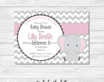 Elephant Baby Shower Invitation, It's a Girl, Pink and Gray Baby Shower Invitation, *DIGITAL FILE*