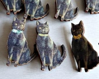 Lucky Black Cat Wooden Brooch