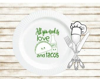 Taco Plates, Taco Party Plates, Wedding Taco Bar, Wedding Plates, All You Need Is Love, Plastic Plates, Birthday Taco Party Plates, Cute