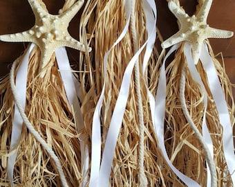 Starfish raffia braided chair hangers // Starfish decor // Beach wedding // Wedding aisle // Raffia // Beach decor // Starfish // Wedding
