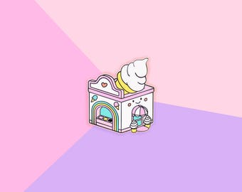 Pastel Ice Cream Shop - Gold Hard Enamel Kawaii Lapel Pin