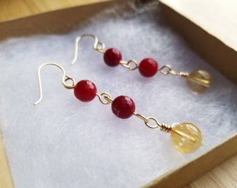 Earrings Agate and Citrine Stone