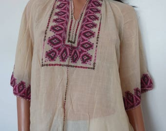 RESERVED for Lola please do not buy. Beautiful 30s Ethnic Hand Embroidered Blouse Top Boho Bohemian Peasant Thirtie