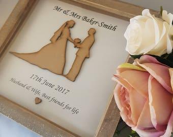 Wedding Gift, Bride & Groom Frame, Personalised Wedding Gift, Wedding Frame, Mr and Mrs Gift