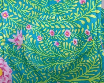 PINK Flower on TURQUOISE Microwave Bowl Cozy **2 Sizes Available**
