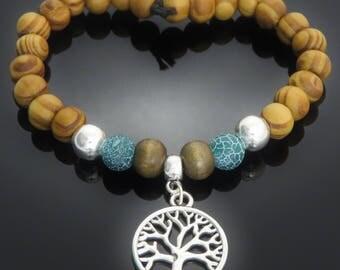 Tree of Life Silver Tone Charm, Dyed Green/Blue Stone, Brown Wood, Burly Wood Bead Bracelet surfer yoga mens ladies gift jewellery UK SELLER