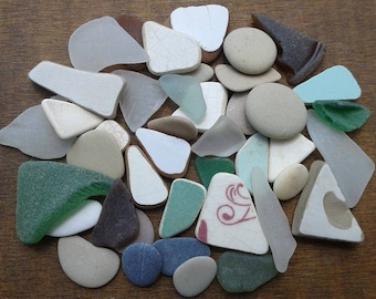 42 pieces 0.6''- 1.6''[1.5-4cm]. Collection of sea glass, pottery and beach stones. Quality pieces for various crafts and jewelry making.
