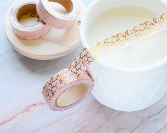 Bubble Gum Pink and Light Gold Foil Washi Tape 15mm/ Metallic Foil Washi Tape