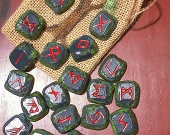 Hand painted Elder Futhark Runes, Rune Set with Bag, Handcrafted Viking Runes, Heathen Norse Runes, Viking Pagan Asatru Divination Tool