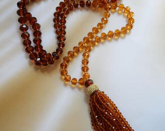 Long brown necklace with a tassel  Necklace of crystal beads
