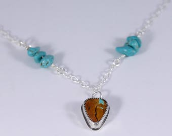 Sterling silver and turquoise necklace with sterling silver chain
