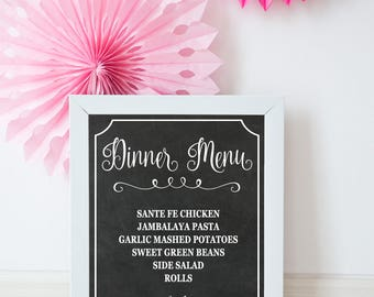 DINNER MENU SIGN, Wedding Menu, Wedding Sign, Menu, Menu Sign, Chalkboard Menu, Wedding Decor, Dinner Sign, Menu, Printable