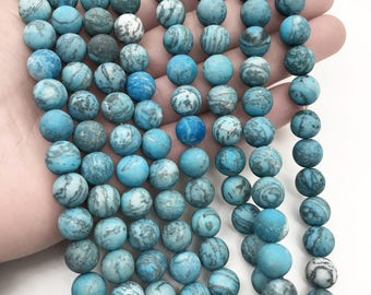 8mm Matte Blue Crazy Lace Agate Beads, Round Gemstone Beads