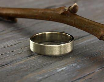 5mm White Gold Simple Wedding Band Matte Finish Ring Flat