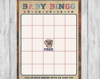 Vintage Sports Baby Shower Bingo Game - Baby Shower Party Games - Couples Baby Shower Bingo Game - All Star Baby - Baseball Baby Shower Game