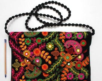 Handmade Ethnic Designer Tribal Banjara Patchwork Embroidered Hippy Fashionable Stylish Trendy Hippie Gypsy Boho Bohemian Clutch Bag F301