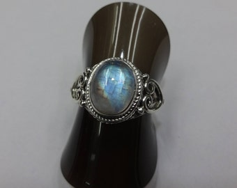 Classic 925 Sterling Silver Moonstone Ring,Size US 6.75