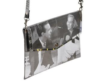 Envelop clutch retro images, FREE SHIPPING, vegan purse, vintage shoulder bag, retro purse, unique gifts, ethical gifts