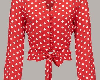 40's Vintage Inspired 'Clarice' Blouse in Red Spot