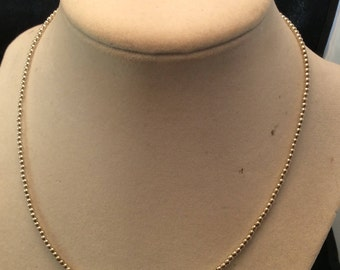 """Vintage Sterling Silver 2mm Beaded Ball 16"""" Chain Necklace, Sterling Beaded Chain"""