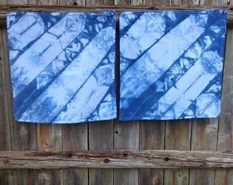 """Indigo Dyed Napkins, Tie Dyed, Cloth Napkins, Napkin Set, 2 Napkins, set of two, 17 1/2"""" by 17"""", Diagonal Indigo Blue #1"""