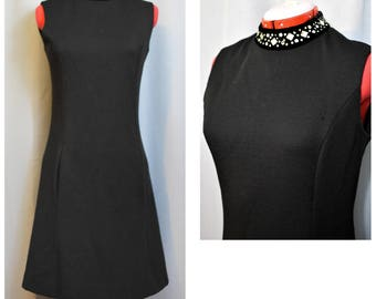 Leslie Fay Knits Mod Black 60s Shift Dress with Velvet Rhinestone neckline