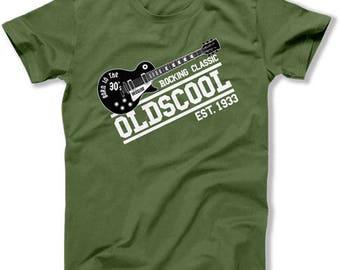 Funny Birthday Gift 85th Birthday Shirt Bday Present Grandpa TShirt Rocking Classic Oldscool Established 1933 Birthday Mens Tee DAT-1549