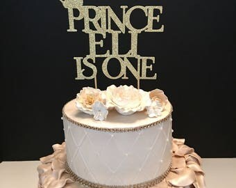Prince Birthday Topper, Gold Glitter Personalized Cake Topper, First birthday cake topper, prince cake topper Any Name and Number