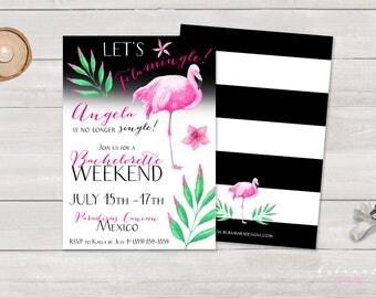 Flamingle Bachelorette Party Invitation Printable Let's Flamingle Pink Flamingo Black Stripes Bachelorette Weekend Party Invite - BS024