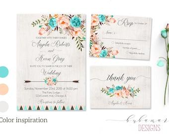Mint Peach Floral Wedding Invitation Suite Boho Digital Invitation Tribal Spring Printable Invite Wedding Romantic Wedding Invite - WS013