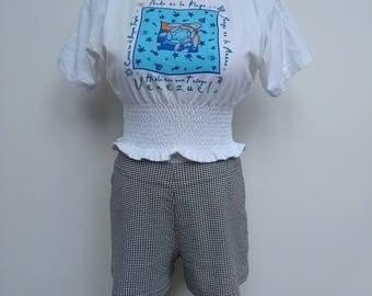 White Venezuela Tee - Cropped Shirring Waist - Size 8 10 *Please SEE SHOP ANNOUNCEMENT*