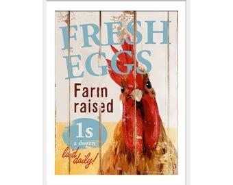 Chicken Art. Chicken Print. Farmyard Animals Print. Chicken Gift. Rustic Kitchen Wall Art