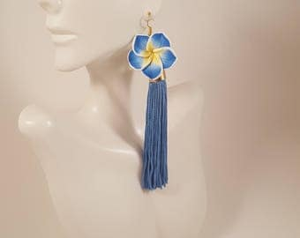 Blue tassel earrings, blue earrings, flower earrings, special occasion jewelry, ombre earrings, gifts for women, bridesmaid gifts